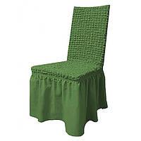Набор чехлов на стулья с юбкой 6 шт, накидка стулья, чехол на стулья,  зелёный