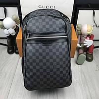 Кожаный женский рюкзак Louis Vuitton LV черный качественный рюкзачок унисекс кожа Луи Виттон премиум реплика, фото 1