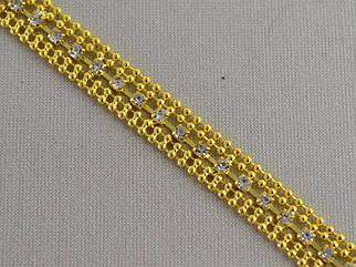 Декоративная металлическая цепь (цвет золото) инкрустировано стразами арт.15211, цена за бобину (10метров).