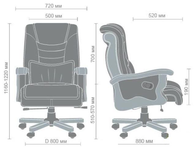 Кресло Монреаль HB Кожа Люкс комбинированная (675-B+PVC) габариты