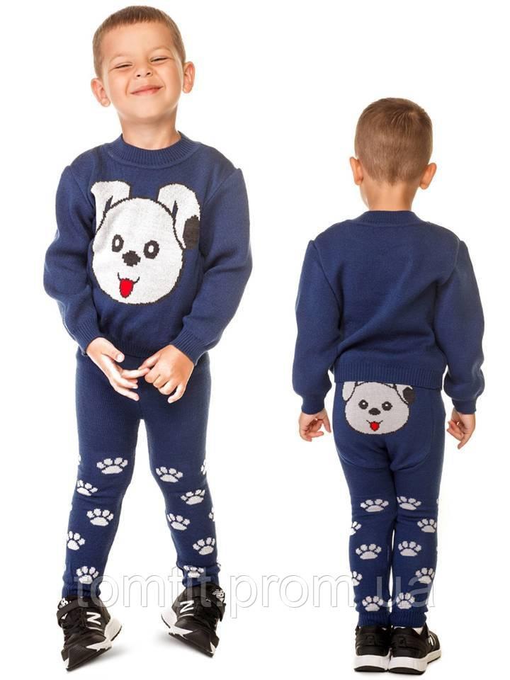 """Костюм детский шерстяной """"Литл Собачка"""" (свитер + лосины), для мальчика, цвет синий"""