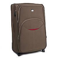 Большой тканевый чемодан Wings 1708 на 2 колесах коричневый