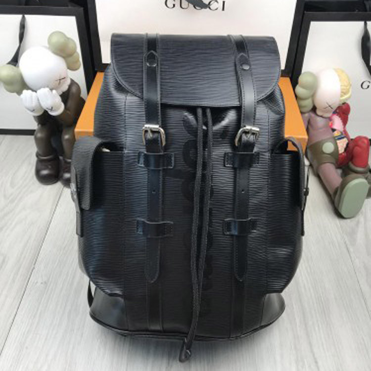 Кожаный женский рюкзак Louis Vuitton LV черный стильный качественный унисекс кожа Луи Виттон премиум реплика