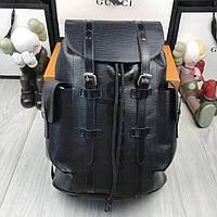 Кожаный женский рюкзак Louis Vuitton LV черный стильный качественный унисекс кожа Луи Виттон премиум реплика, фото 1
