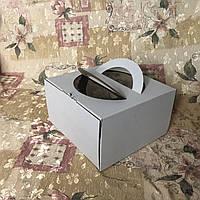 Коробка с ручкой / 260х260х150 мм / ГОФР-Белая / окн-ручка  / для торт, фото 1