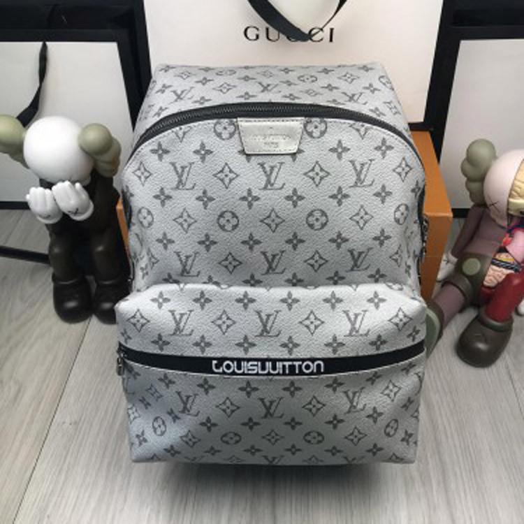 Кожаный мужской рюкзак Louis Vuitton LV серый оригинальный унисекс кожа качество Луи Виттон премиум реплика
