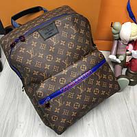 Кожаный мужской рюкзак Louis Vuitton LV коричневый современный унисекс кожа Луи Виттон качественная реплика, фото 1