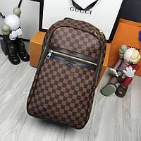 Кожаный мужской рюкзак Louis Vuitton LV коричневый брендовый унисекс натуральная кожа Луи Виттон реплика, фото 1