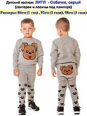 """Костюм детский шерстяной """"Литл Собачка"""" (свитер + лосины), для мальчика, цвет серый, фото 3"""