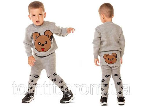 """Костюм детский шерстяной """"Литл Собачка"""" (свитер + лосины), для мальчика, цвет серый, фото 2"""