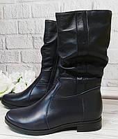 Синие кожаные полусапоги обувь Днепр, фото 1