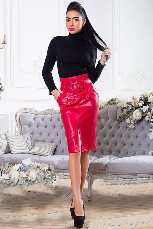 Красная юбка большого размера Карина