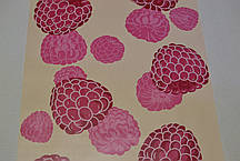 Обои для стен шпалери Малина розовый бежевый влагостойкие 0,53*10м, фото 2