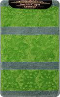 Зелёный салатовый набор ковриков Турция 3Д с рисунком в ванную комнату и туалет
