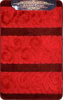 Красный набор ковриков Турция 3Д с рисунком в ванную комнату и туалет