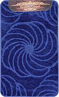 Синий набор ковриков Турция 3Д однотонный в ванную комнату и туалет , фото 1