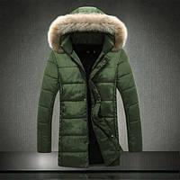 Зимняя длинная куртка с отстёгивающимся капюшоном хаки