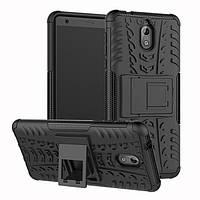 Чехол для Nokia 3.1 / 3 2018 противоударный бампер с подставкой черный