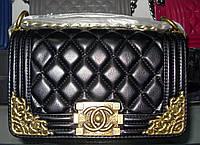 Женская сумка клатч Chanel Boy (Шанель Бой) 1107 черная с золотом