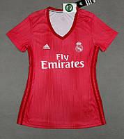 Женская футболка Реал Мадрид (сезон 2018-2019) красная, фото 1