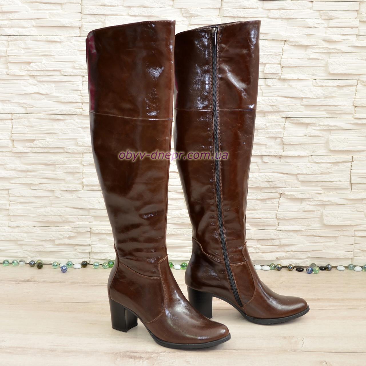 Ботфорты зимние кожаные на устойчивом каблуке, цвет коричневый. 41 размер