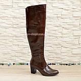 Ботфорты зимние кожаные на устойчивом каблуке, цвет коричневый. 41 размер, фото 2