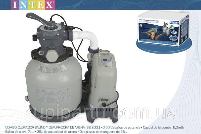 Песочный фильтр-хлорогенератор Intex Saltwater System 5700 л/ч 28678\28676