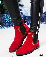"""Ботинки женские замшевые """"Челси"""" красные"""