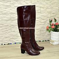 Ботфорты зимние кожаные на устойчивом каблуке, цвет бордо., фото 1