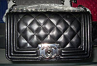Женская сумка клатч Chanel Boy (Шанель Бой) 1107 черная с серебром