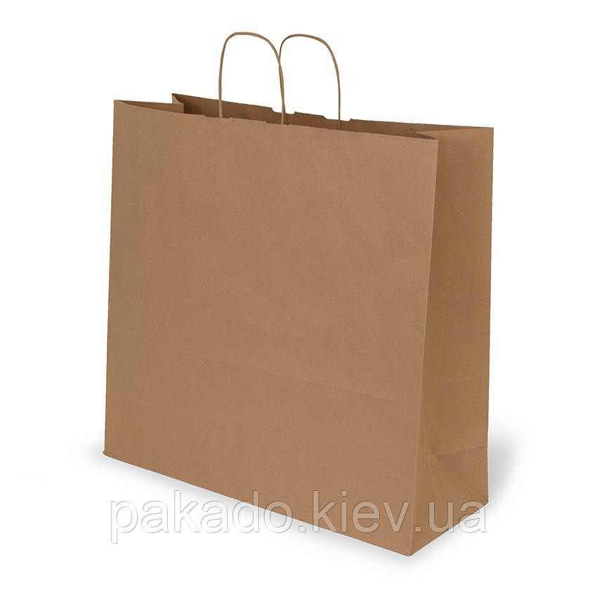 Паперовий пакет з дном 305х145х350 Бурий з ручками
