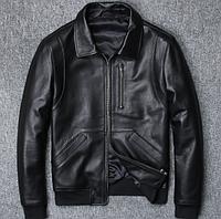 Чоловіча шкіряна куртка чорна. (01323), фото 1