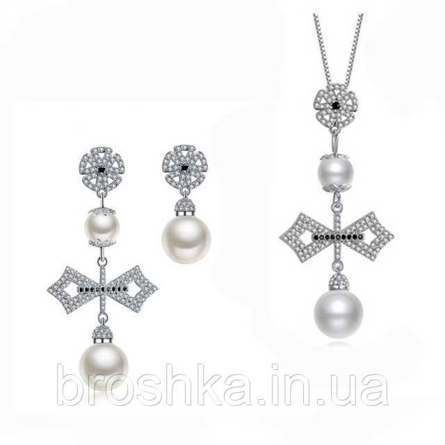 Комплект украшений крест с жемчугом ювелирная бижутерия