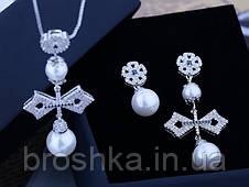 Комплект украшений крест с жемчугом ювелирная бижутерия, фото 2