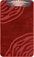 Бордовый набор ковриков Турция 3Д однотонный в ванную комнату и туалет , фото 1
