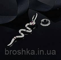 Серьги асимметрия крупная змея питон Каа, фото 2
