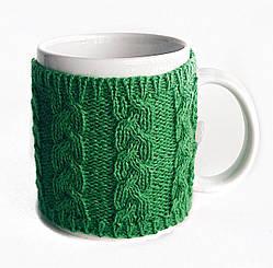 Вязаный чехол для чашки косы Ohaina Green