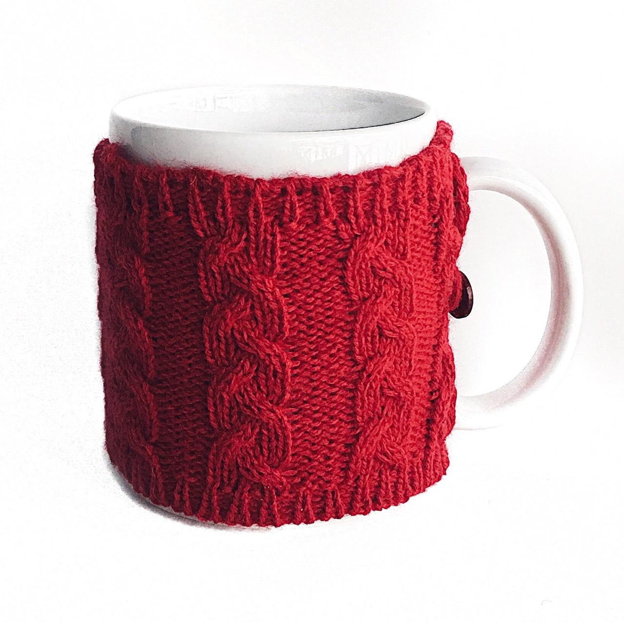 Вязаный чехол для чашки косы Ohaina Red