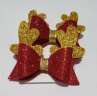 Резинки для волос бантик красный с золотом (2 шт.)