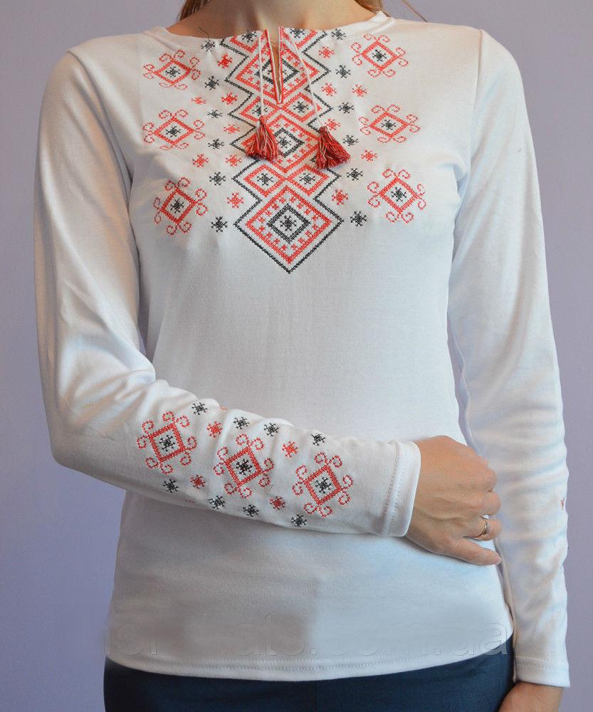Вышиванка Орнамент красный  длинный рукав