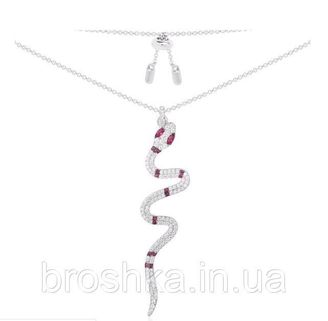 Длинная цепочка с кулоном змея ювелирная бижутерия