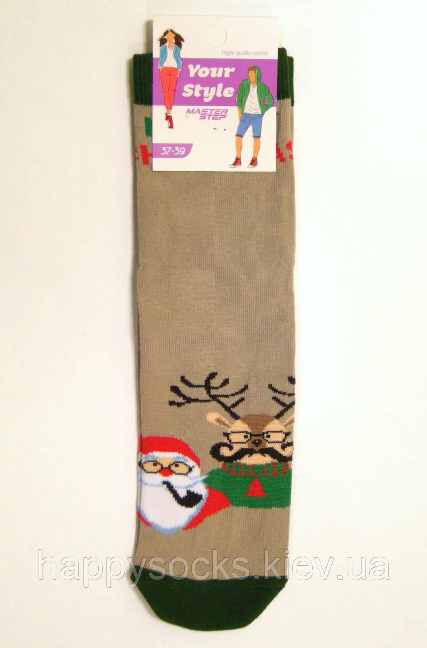 Носки хлопковые демисезонные новогодние с Дедом Морозо и Оленем