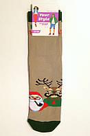 Носки хлопковые демисезонные новогодние с Дедом Морозо и Оленем, фото 1