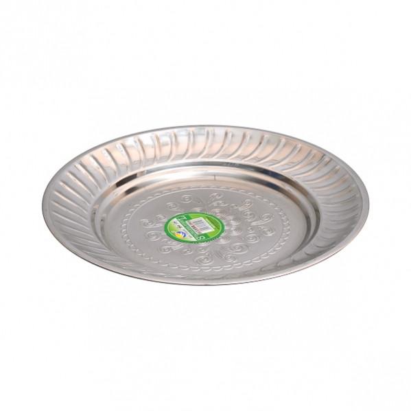 Тарелка металлическая круглая с узором D 22 см            ТП-22