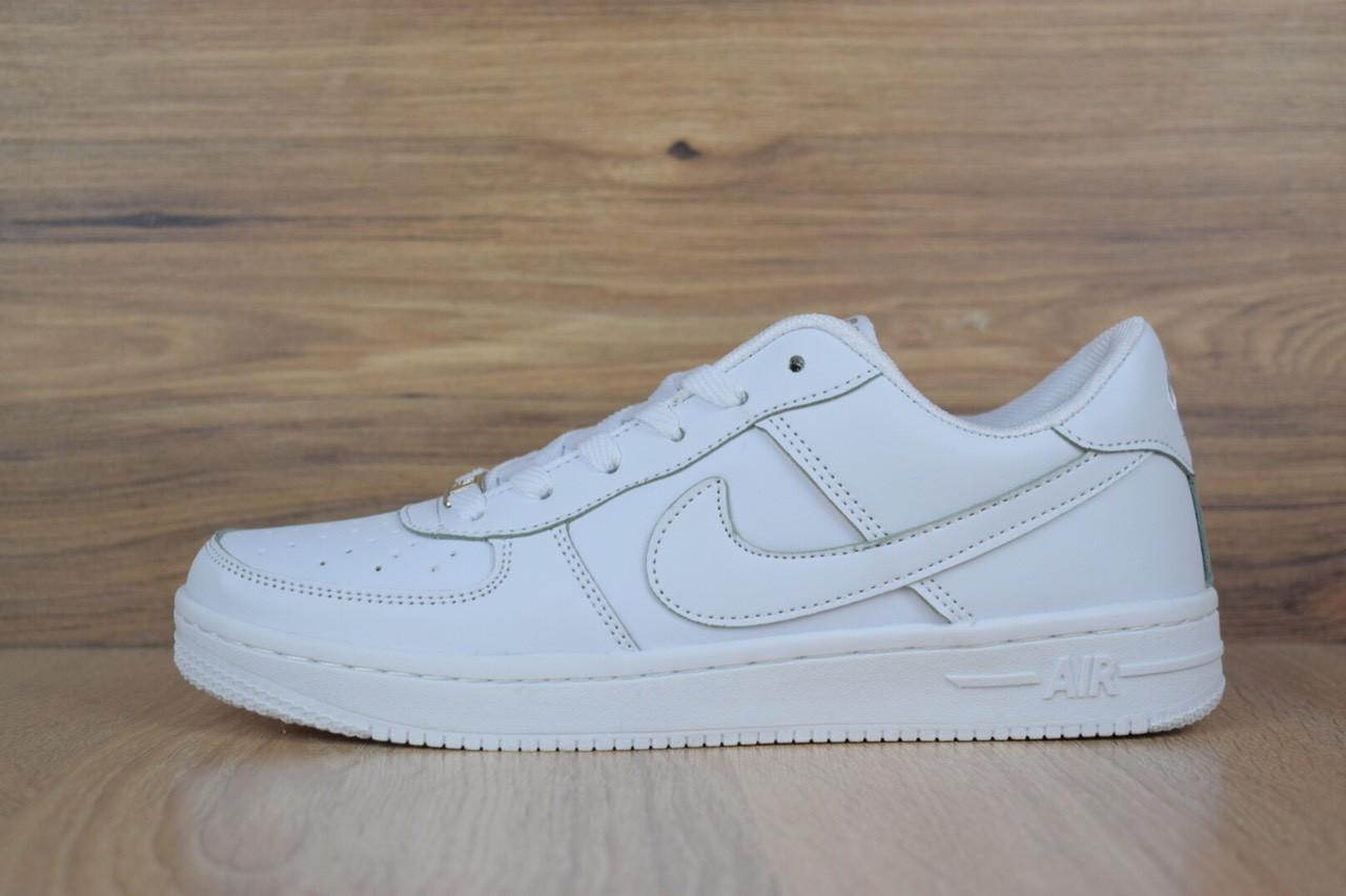 52522221 Подростковые кроссовки NIKE Air Force White LOW белые кожаные топ реплика  (живые фотографии) -