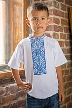 Вишиванка для хлопчика Подільська бірюза – комірець-стійка