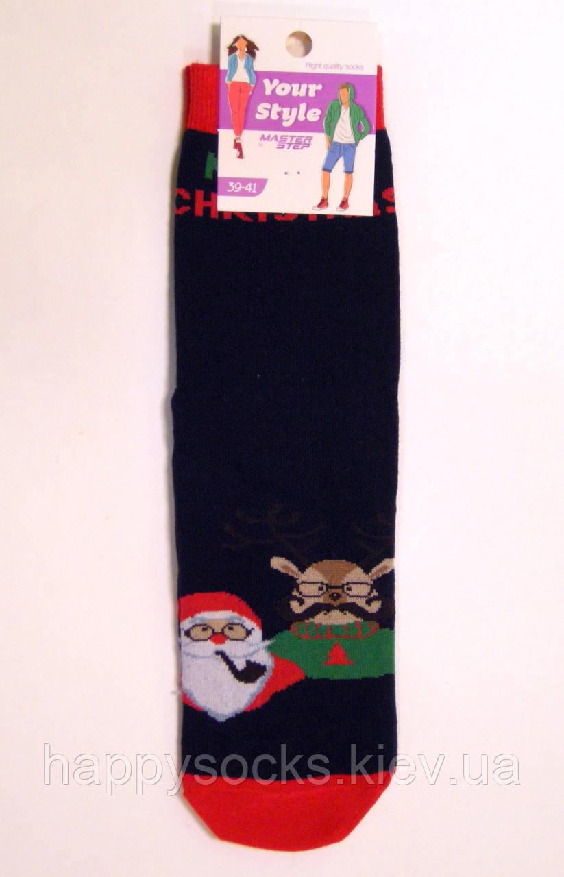 Хлопковые демисезонные новогодние носки с Дедом Морозо и Оленем