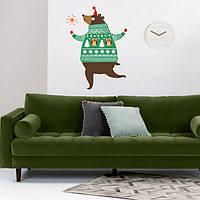 Наклейка новогодняя на стену Праздничный медведь (виниловая пленка в детскую, на обои, животные)