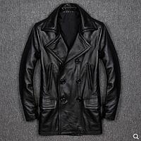 Чоловіче шкіряне пальто 01325, фото 1