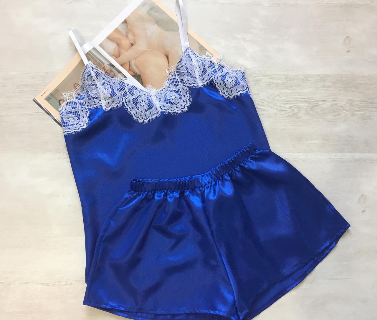 Пижама женская атлас  майка и шорты электрик белый